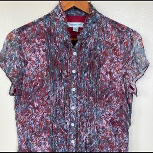 Coldwater Creek Crinkle Silk Button Up Blouse